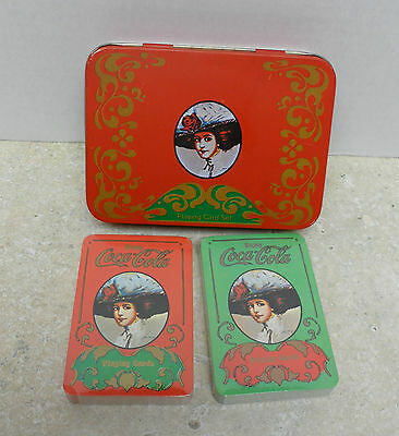 2 Sealed Decks of Coca Cola Playing Cards in Hinged Collectible Tin Lady in Hat