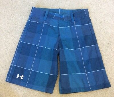 Boys Under Armour Casual Shorts Loose Fit Blue Plaid Adjustable Waistband YMD