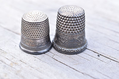 Pair of Antique Sterling Silver Thimble Size 9 & 10