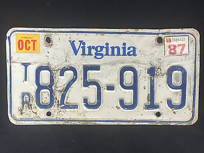 1987 Virginia License Plate #825-919 SAME DAY SHIPPING