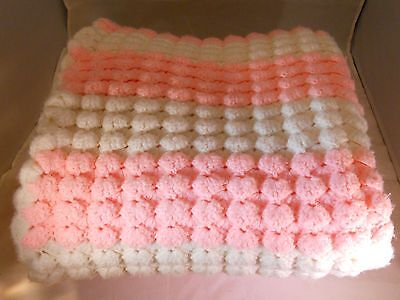 """Hand Crocheted Pink, White  56""""x 42"""" Afghan Baby / Adult Throw, Crib Blanket"""