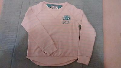 "Joules girls ""Royal ballet"" long sleeved top, 9-10yrs, peach and grey"