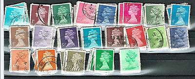 GB Elizabeth - Machin definitive stamps X  ranges 1/2p - 12 1/2p [X10 each] used