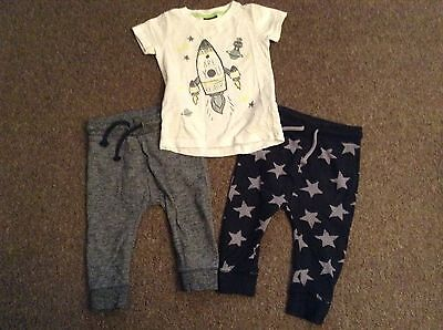 NEXT Boys 9 12m Bundle Of 3 Star Space T-shirt & Joggers Jogging Bottoms