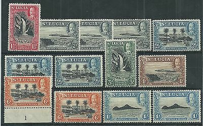 St Lucia 1936 GV Values to 1/- + Strips + Scarce Perfs Mint Cat£180+