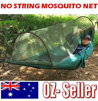 High Strength Hammock Portable Hiking Camping No String Mosquito Net AU