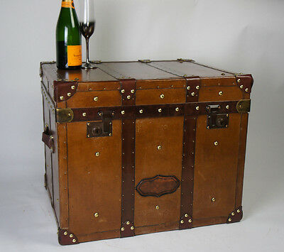 Finest Vintage English Leather Campaign Chest Trunk Coffee Table