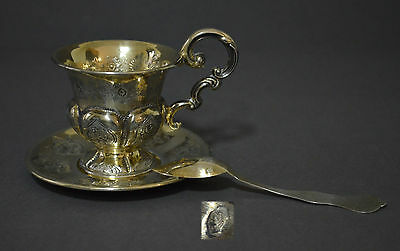 Gorgeous 19Th C French Gilded Vermeil Solid Silver Tea Coffee Cup Saucer Spoon