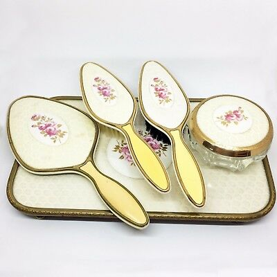 """Vintage 1930's """"Lissco"""" Five Piece Dressing Table Set, With Removable Brushes"""