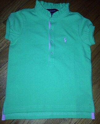 New Baby Girl's Toddler Ralph Lauren Short Sleeve Polo Shirt Size 3T