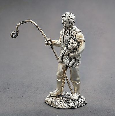Royal Hampshire Art Foundry silver plate figurine man shepherd with lamb staff