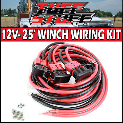 2 Gauge 25' Ft Winch Wiring With Quick Connect Harness Plug Trailer Truck Suv