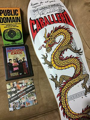 Powell Steve Caballero Signed deck/ public domain vhs/ animal chin + preview dvd