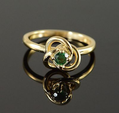 14K Green Glass Knot Ring Size 6.25 Yellow Gold