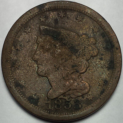 1853 Braided Hair Half Cent - Old Us Copper Coin