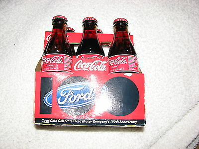 Coca Cola  And Ford 100 Th Anniversary 6 Pack Bottle Rare Set