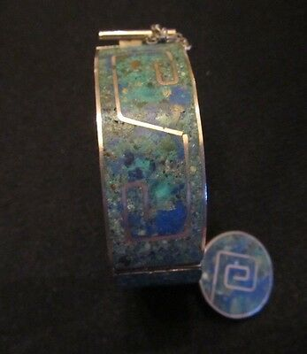 TAXCO Mexico Turquoise and Lapis Inlay Sterling Silver Hinged Bangle Bracelet