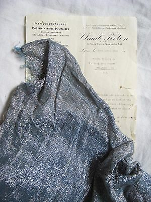 Piece Antique Vintage French Lame Fabric Blue/Silver Metallic Flapper