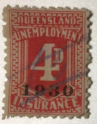 Queensland Rare 4d Unemployment Revenue Duty Overprinted 1930. Elsmore $80.00