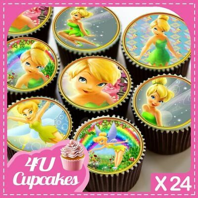 Cupcake Toppers Tinkerbell personalised Rice paper,Icing fondant Sheets 57