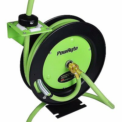 Retractable Air Hose Reel with 3/8-Inch by 25-Feet Rubber Air Hose