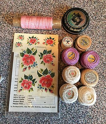 Vintage Group of Crochet Cottons Metal display case and Meyercord decals