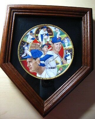 """Ted Williams 4"""" The Splendid Splinter"""" 1990 Collectible Plate w/Homebase Frame"""