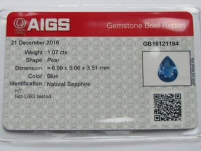 Superb AIGS Certified 1.07ct Pear Cut (Almost Loupe Clean) Blue Ceylon Sapphire.