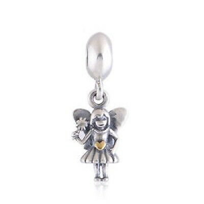 Genuine Pandora Silver and 14ct Gold Fairy Dangle charm with POPUP ENVELOPE