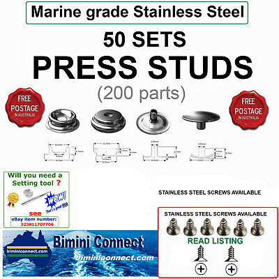 50 of STAINLESS STEEL (316) Press Studs sets   boat covers tarps tents-FREE POST