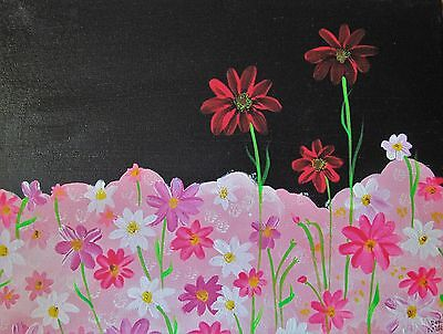 "Original art ""Floral"" acrylic painting Dodie Mithcell 11 X 14 in. canvas"