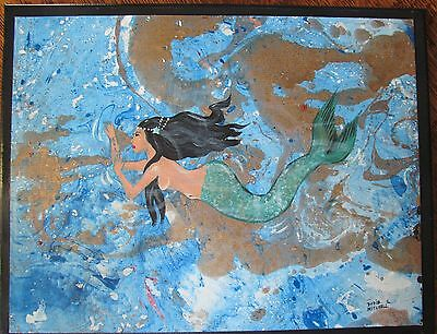 "Original art ""Mermaid"" acrylic painting Dodie Mitchell 11 x14 in. canvas"