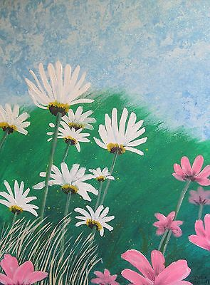 "Original art ""Meadow flowers"" acrylic painting Dodie Mitchell 11 X 14 in. canvas"