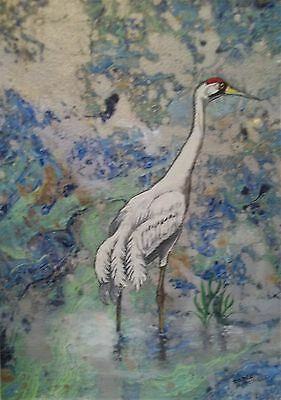"Original art ""Crane"" acrylic and watercolor painting Dodie Mitchell 11 X 14 in."
