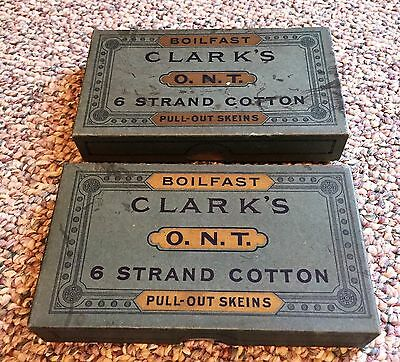 Vintage 2 boxes of Clark's O.N.T. 6 strand Embroidery Cotton