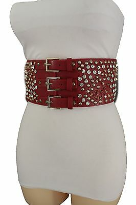 d7192317f93 Women Red Corset Wide Belt Stretch Silver Gold 3 Buckles Metal Studs Spikes  S M