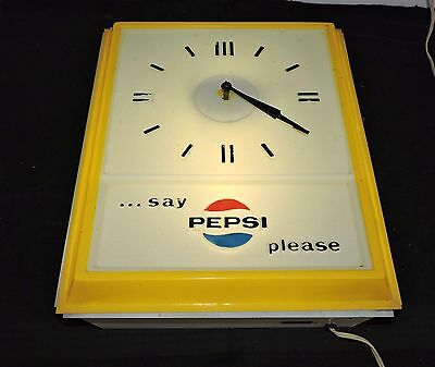 "Rare Antique Original 1970's Pepsi-Cola Advertising Clock Sign ""  Nice  """