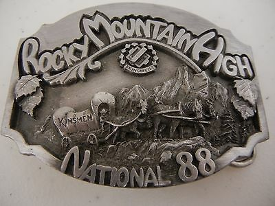 Vintage 1988 Rocky Mountain High Kinsmen Pewter Belt Buckle Limited Edition #312
