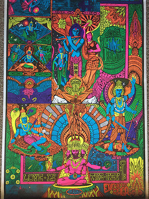 Celestial Art True Vintage The Key Black Light Poster from 1968