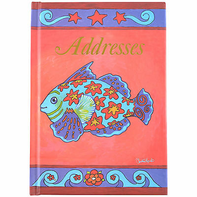 Cumberland Address Book 190x130mm Casebound 72 Leaf - Mosiac Fish Design