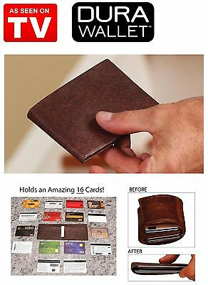 Dura Wallet Redwood Brown Leather Look Carbon Fiber Card Lock RFID Signal Block