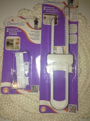 Dreambaby Cabinet & Drawer Lock Set, 2 Safety Catches, 2 Sliding Locks