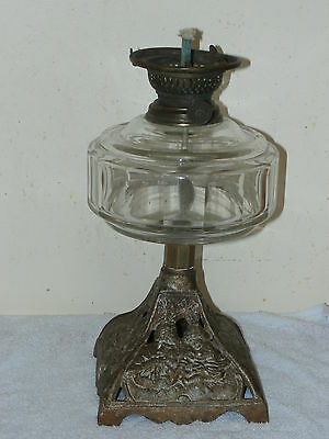 Antique Iron Base and Clear Glass Font Oil Lamp with Burner c1880s - 1900