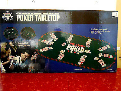 "Deluxe Folding Poker Tabletop 10 Players World Series Poker 33"" X 66"""