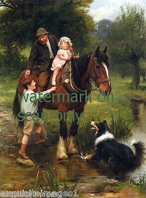 1913 Harnessed Clydesdale Horse~Man Helps Children On~Collie Dog~NEW  Note Cards