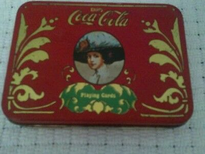 Vintage Coca Cola Tin with 2 decks of Playing Cards