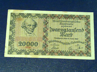 Germany - 20 000 Mark  Banknote 1923- Stutgart-Inflation - Very Fine