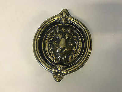 Vintage Antique Heavy Brass Door Knocker w/ Lion Head / Face