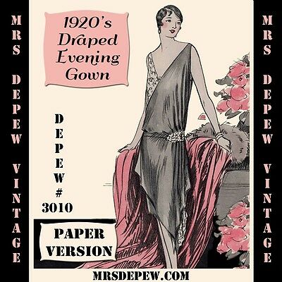 Vintage Sewing Pattern Instructions 1920's Flapper Draped Evening Gown #3010