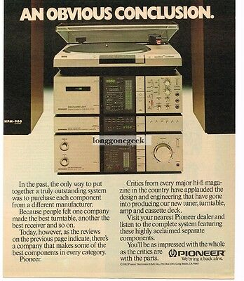 1982 PIONEER Stereo Component System Hi-Fi Audiophile Vtg Print Ad